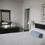 Hotel room with bed